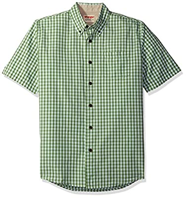 Wrangler Authentics Men's Short Sleeve Plaid Woven Shirt, Forest Shade, 2XL