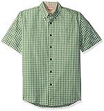 Wrangler Authentics Men's Short Sleeve Plaid Woven Shirt, Forest Shade, 2XL