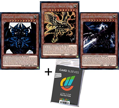 CAGO Yu-Go-Oh! 3 Götterkarten Set - Slifer, Obelisk, Ra - Alternative Artworks - Spielbar - Deutsch + 100 Collect-it.de Hüllen gratis!