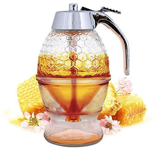 U/K Dispensador de miel, sirope, prensa, tipo recipiente de azúcar, cristal, para desayuno, cocina, alta calidad