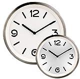 St. Leonhard Reloj de Pared Iluminado: Reloj de Pared de Cuarzo de Acero Inoxidable con iluminación de Esfera y Sensor de luz (Reloj de Pared Brillante)