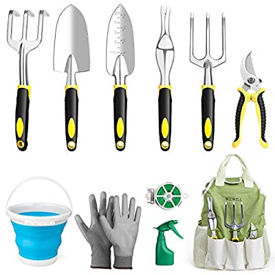 WEWILL Garden Tools Set Gardening Tool Kits Heavy Duty Aluminum Hand Tools Kits with Sprayer,Weeder,Garden Gloves & Garden Handbag and More, Gardening Gifts for Women & Men from WEWILL