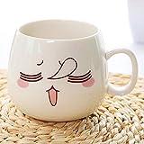 HRDZ Tazza in Ceramica Creativa Coppia Tazza Tazza d'Acqua con Coperchio Espressione personalità Tazza di caffè Carina