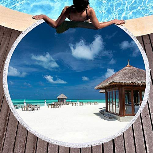 Vanzelu Sanddichtes, Sandfreies Strandtuch, Saugfähiges Handtuch, Picknick-Strandmatte, 150 cm Blauer Himmel Und Weiße Wolken