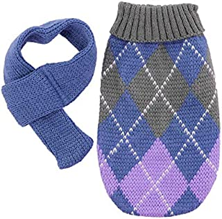 fogohill Small Dogs Pet Sweater Fashion Doggie Argyle Lavender Plaid Sweater with Scarf Outfit Sweater