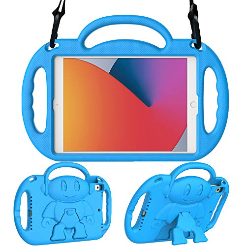 Surom Kids Case for New iPad 10.2 Inch 2020/2019 (8th/7th Generation), Light Weight Shock Proof Handle Stand Shoulder Strap Kids Case for 2020/2019 iPad 10.2, iPad Air 3 10.5 2019, Blue