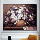 Peinture sans cadreFleur Peinture chrysanthème Blanc Bambou Panier Floral Salon décoration Peinture Mur Affiche picture52X70 cm