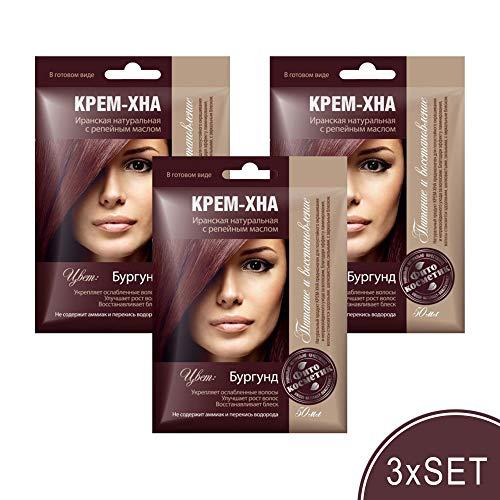 3xSET Henna Creme mit Klettenöl iranische Haarfarbe Haarkur Haare natürlich Naturkosmetik Tönungscreme gebrauchsfertig (Burgund)