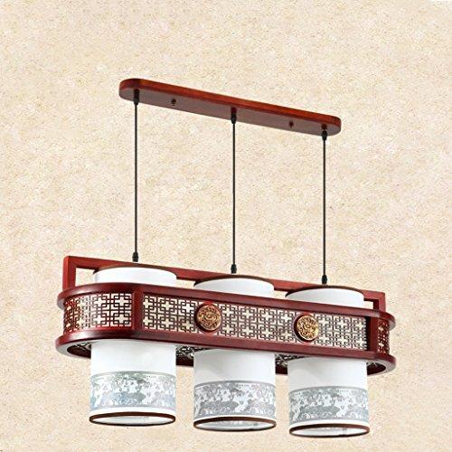 Lustre Salle à manger Chandeliers Restaurant Trois Carré Carré En Bois Massif Imitation Lampes En Cuir Style Chinois LED (Size : 28 * 35 * 80cm)
