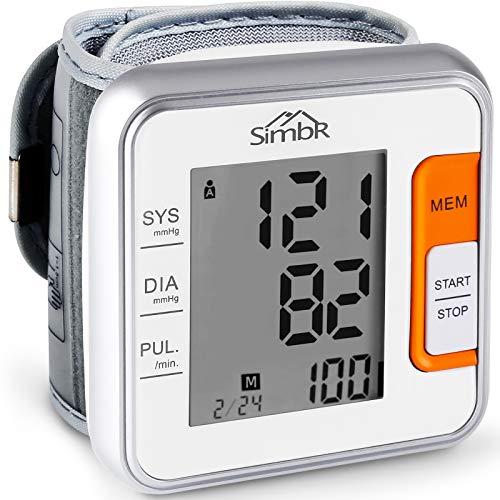 SIMBR Digitale Handgelenk Blutdruckmessgerät - 2x120 Speicher für 2 Benutzer, mit intelligentem LCD Display, für Herzfrequenzmesser und Hypertonie-Detektor