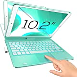 Typecase Touch iPad Keyboard Case with Trackpad for 10.2-inch iPad 8th Generation (2020), 7th Gen, Air 3, Pro 10.5-10 Color Backlight, 360° Protective Slim Cover with Pencil Holder (Seafoam)