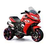 Alison Children Battery Motor Bikes Rechargeable 3 Wheels Ride on Kids Electric Motorcycle with Light Wheels (red)