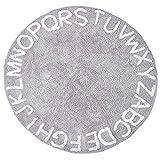 Alfombra de bebé letras para guardería, alfombras suaves y lavables alfabeto, alfombra redonda, 26 letras inglesas ilustración juego Mat gris 120 cm