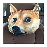 Auto dibujos animados cuello sujetalibros, 3d perro patrón reposacabezas Cuello resto Cojín reposacabezas (30* 22cm) beige Diseño 1