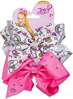 JoJo Bows Signature Collection 2 x Large Hair Bows - Limited Edition Bright Pink With Diamonte and White With Rainbows Hearts Cupcakes - Best Present for Your Little Girl