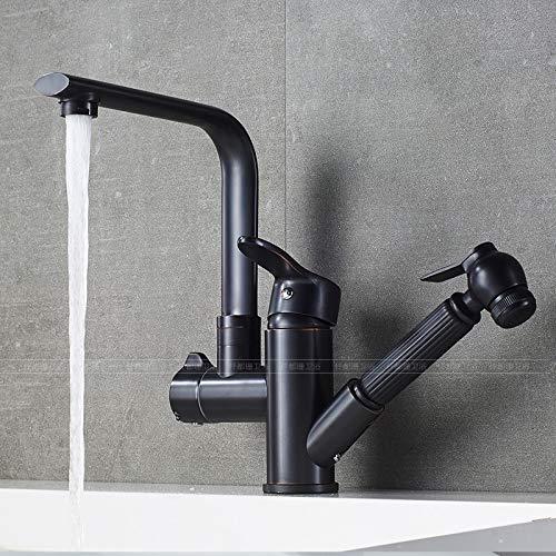 PajCzh wastafel wastafel kranen zwart kraan retro zwart nordic eenvoudige koper warm en koud bekken telescopische kraan trek-type Shampoo