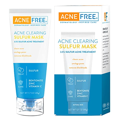Acne Free Acne Clearing Sulfur Mask 1.7 oz Absorbs Excess Oil and...