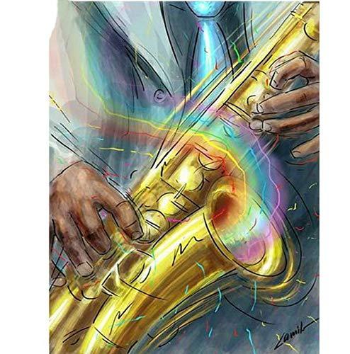 Diamante dibujo 5D Diy diamante pintura taladro cuadrado completo saxofón instrumento musical patrón diamante bordado conjunto diamante mosaico regalo 50 * 70 cm