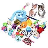 Focuspet Katzenspielzeug, CatToy Katzenspielzeug Set Für Kätzchen Beinhaltet Katzenspielzeug Mäuse Bälle Interaktive Spielzeuge usw. Variety Packung mit 23 Stücke