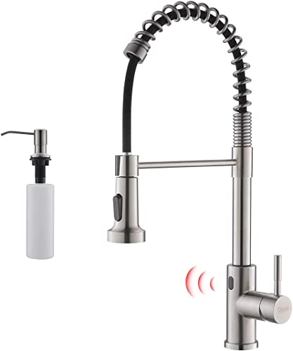 discount GIMILI lowest Touchless lowest Spring Kitchen Faucet with Soap Dispenser,Brushed Nickel outlet sale