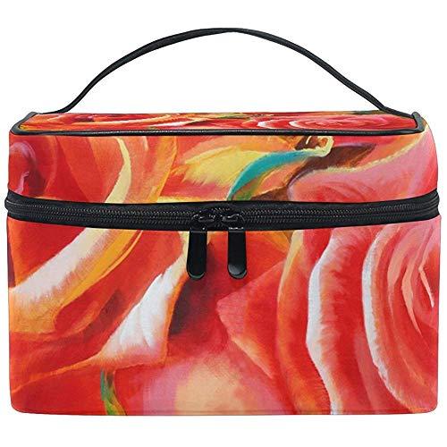 Sac cosmétique Roses Rouges Main Multifonction Maquillage Voyage Trousse De Toilette Organisateur Cas Avec Fermeture Éclair