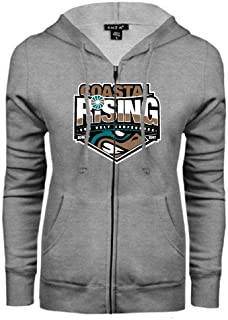 Coastal Carolina ENZA Ladies Grey Fleece Full Zip Hoodie 'Coastal Rising - Sun Belt Conference'