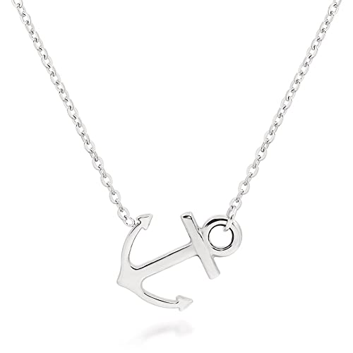 f2c387e42 ELBLUVF Stainless Steel Sideways Anchor Necklace for Women
