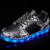 F-JX Zapatos De Luz LED De Chirren Adultos Unisex, Botas Intermitentes Recargables USB, Hombres Mujeres Ghost Walk Zapatos Zapatos Luminosos (Encaje Negro),37