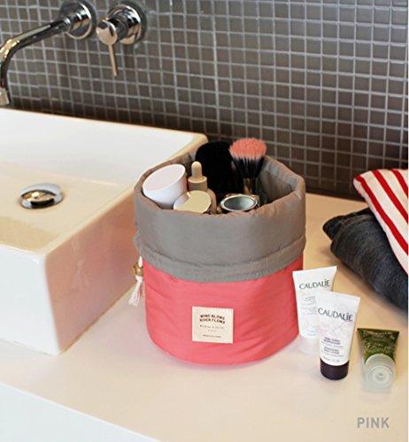 Addfun®Kosmetische Beutel,Multifunktions Barrel-Typ groß Kapazität Kosmetikum Reisetasche(Rot)