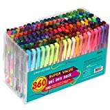 Feela 360 Colors Gel Pens Set 180 Unique Gel Pen Plus 180 Refills for Adult...