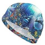 NoneBrand Orca Reef - Gorro de natación antideslizante de lycra de alta elasticidad, gorro de natación para adultos, unisex, para pelo largo y corto
