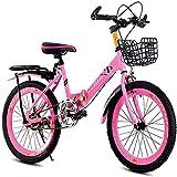 AJH Pliable Hommes et Femmes vélo Pliant - vélo Pliant Vitesse Enfant VTT 18 Pouces 20 Pouces 22 Pouces 6-14 Ans Hommes et Femmes vélo,Rose,20inch