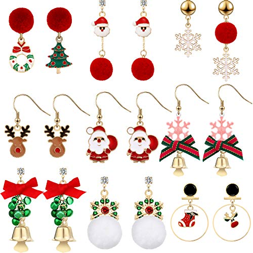 Conjuntos de 9 Pares Pendientes de Colgante de Gota de Navidad Regalo de Joyería para Vacación de Navidad