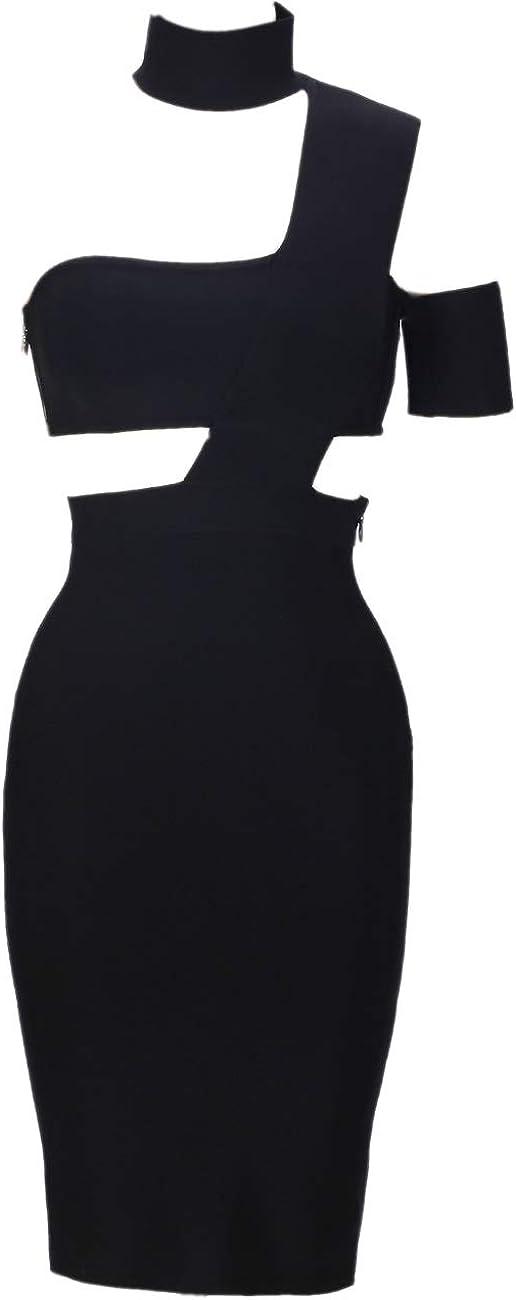 Whoinshop Women's Halter Celebrity Cutout Knee Length Fashion Bandage Night Club Party Dresses
