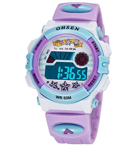 OHSEN Infantil Reloj de pulsera Bonito Colorido Niños Niñas Digital Luz fondo reloj Resistente al agua 1603 - Morado