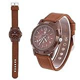 Reloj de pulsera digital electrónico para hombre Reloj de pulsera resistente para mujer de moda de nylon Relojes de pulsera de moda de moda masculina(Brown)