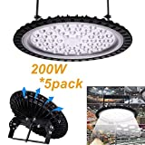 5PCS 200W UFO LED High Bay Light,Bellanny Factory Warehouse Industrial Lighting 20000 LM 6000-6500K IP65 Waterproof LED Lights- Commercial Bay Lighting Low lamp Shop Area Garage Gym Light