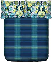 Portico New York Marvella 144 TC Cotton Bedsheet with 2 Pillow Covers - abstract, Fitted King Size, (8045211)-Multicolor