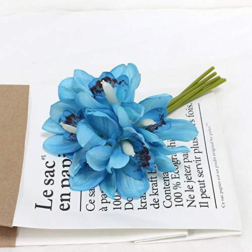 HYLZW Kunstbloem potplant 6-delig/los kunstbloemen orchidee decoratie hotel tafel vervalste bloem decoratie bruiloft bruid bruidsmeisjes Holding boeket