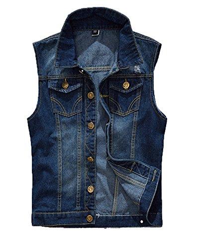 Gilet Jeans Uomo Vintage Cappotto Jeans Senza Maniche Giacca Giubbotto Smanicato Blu 3XL