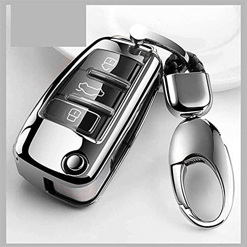 RFGOO Car Styling Soft TPU Car Key Case Cubierta Completa, Apto para Audi A1 A3 A4 A5 Q7 A6 C5 C6 A8 R8 Silver
