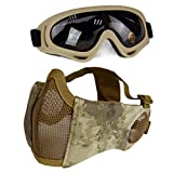 Aoutacc Airsoft Protective Gear Set, Half Face Mesh Masks with Ear Protection and Goggles Set for CS/Hunting/Paintball/Shooting (at)