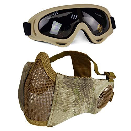 Aoutacc Airsoft Schutzausrüstung, Set mit Halbgesichtsmasken mit Ohrenschutz und Brille für CS/Jagd/Paintball/Shooting, AT