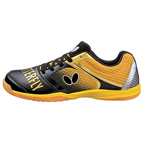 Butterfly Table Tennis Shoes , Black/Gold, 5