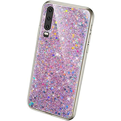 QPOLLY Glitzer Hülle Kompatibel mit Huawei P30,Kristall Glänzend Strass Diamant Silikon Schutzhülle Luxus Crystal Clear TPU Silikon Handytasche Handyhülle Case für Huawei P30,Pink