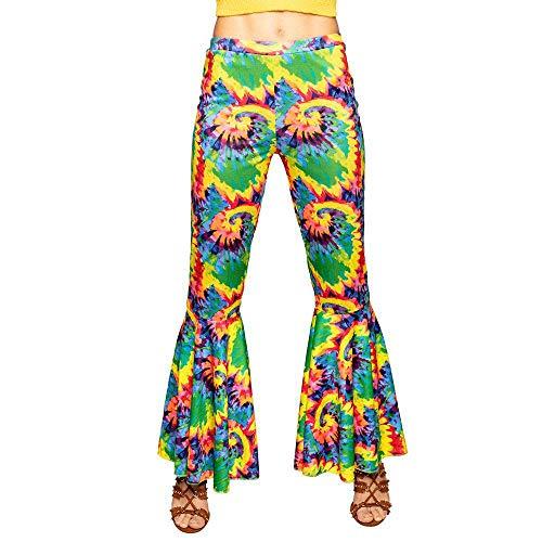 Boland 01541 - Schlaghose Hippie, 1 Stück, Größe M / 38 für Damen, bunte Stretchhose, ausgestelltes Bein, 70er Jahre, Flower Power, Kostüm, Verkleidung, Accessoire, Karneval, Fasching, Mottoparty