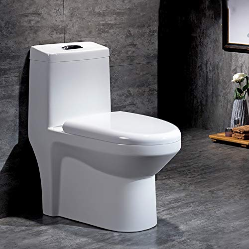 B Backline Ceramic Floor Mounted Western Toilet Commode/Water Closet/European Commode/EWC P Trap Outlet is from Floor with Soft Close Seat Cover 27 X 14 X 29 Inch (White)