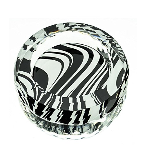 cendrier Xuan - worth having Lignes en noir et blanc 3D Style d'impression couleur cristal rond Accueil Décoration de salon (taille : 15 cm)