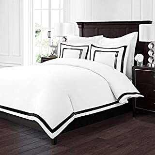 Sleep Restoration Luxury Soft Brushed Embroidered Microfiber Duvet Cover Set with Beautiful Trim & Embroidery Details - Hypoallergenic - Full/Queen - White/Black