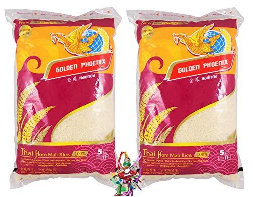 yoaxia ® Marke - 2er Pack - [ 2x 5 kg ] GOLDEN PHOENIX Thai Duftreis Langkorn / Jasmine Rice / Superior Quality + ein kleines Glückspüppchen - Holzpüppchen